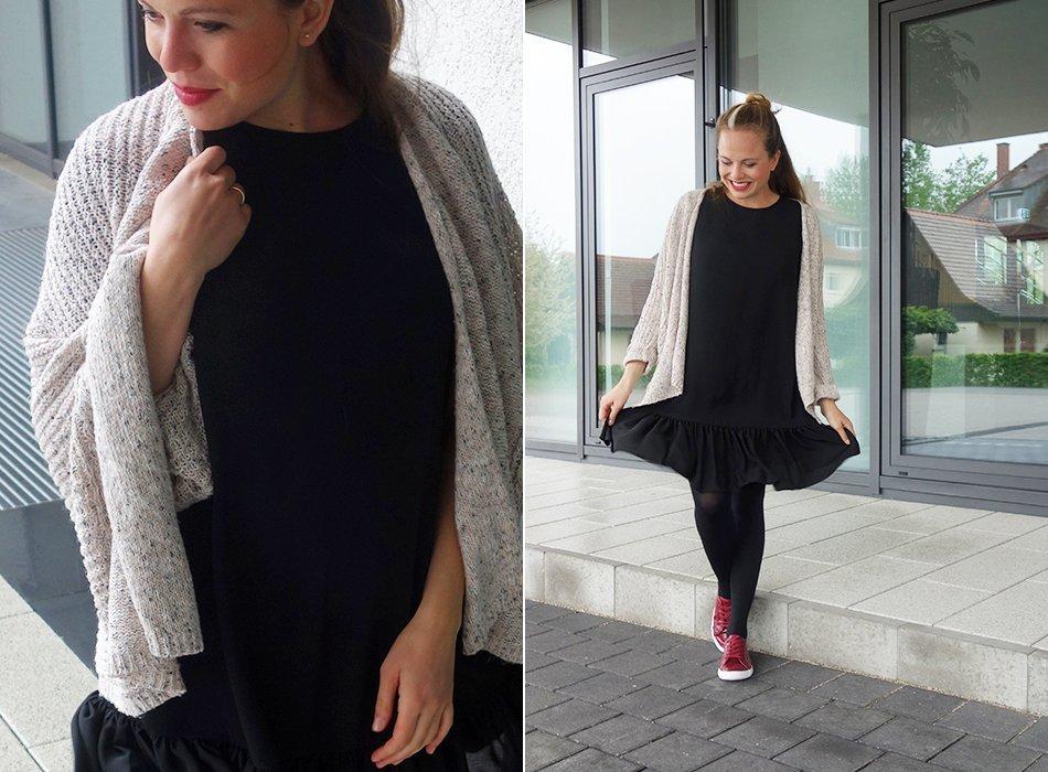 ekulele, umstandsmode, modern, hübsch, schwanger und schoen, mamablog, mommy to be, maternity style, schwarzes kleid, rote schuhe,