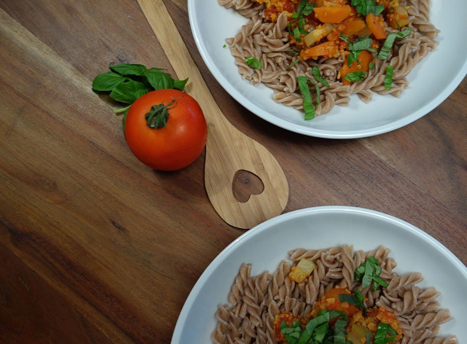 rezept, schnell, vegan, bolo, dinkelnudeln, dm bio, kochen für kinder